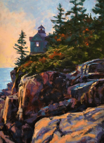 Bass Harbor Light 12x16    Pastel