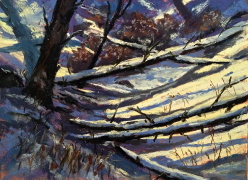 Fallen With Snow 5x7 Pastel